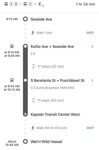 ウェットアンドワイルドの行き方 ハワイのウェットアンドワイルド 行き方 グーグルマップ バス