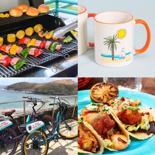ハワイ バーバキュー 自転車 ムーミンのマグカップ フィッシュタコス