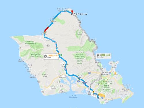 ハワイ ノースショア カフクファーム 地図 行き方 KAHUKU FARM MAP